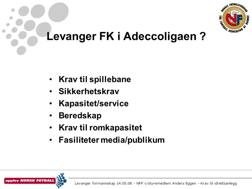Levanger formannskap 14.05.08 - NFF v/styremedlem Anders Eggen - Krav til idrettsanlegg Spillebanen •105 x 68 naturgress eller grønt kunstgress • Undervarme(fra 2009)