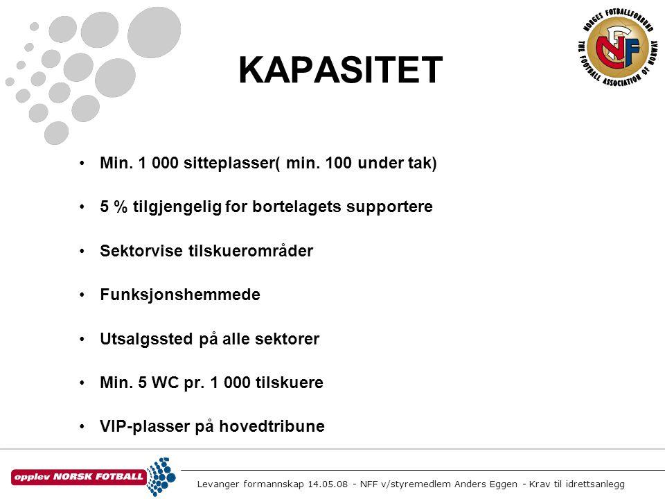 Levanger formannskap 14.05.08 - NFF v/styremedlem Anders Eggen - Krav til idrettsanlegg KAPASITET •Min. 1 000 sitteplasser( min. 100 under tak) •5 % t