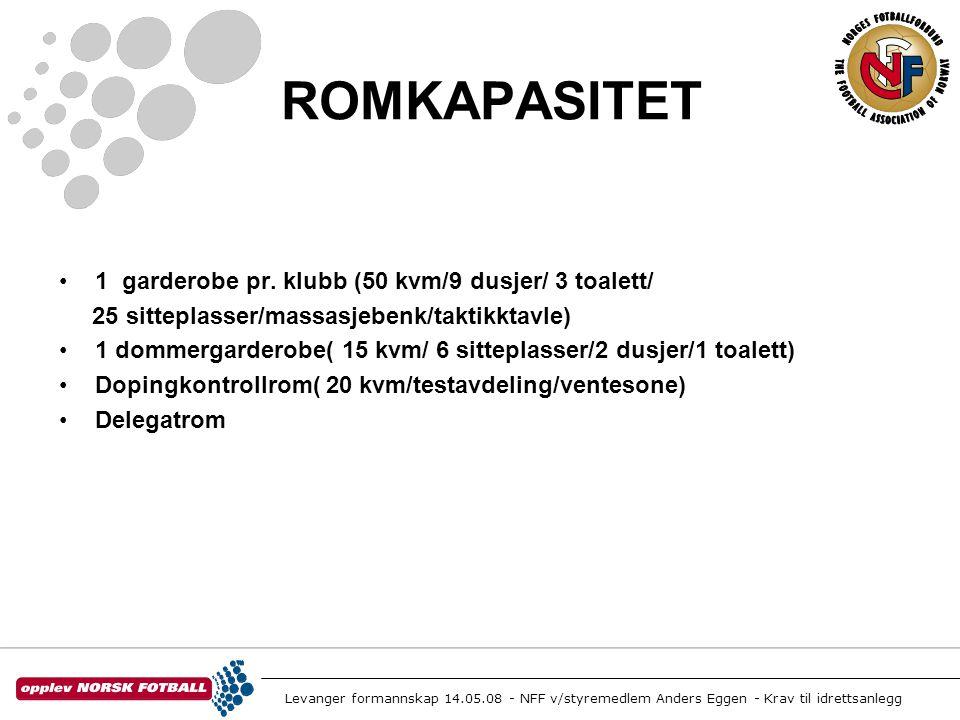 Levanger formannskap 14.05.08 - NFF v/styremedlem Anders Eggen - Krav til idrettsanlegg ROMKAPASITET •1 garderobe pr. klubb (50 kvm/9 dusjer/ 3 toalet