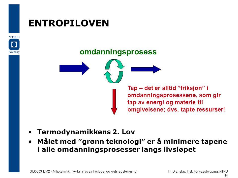 """SIB5003 BM2 - Miljøteknikk: """"Avfall i lys av livsløps- og kretsløpstenkning""""H. Brattebø, Inst. for vassbygging, NTNU 14 ENTROPILOVEN •Termodynamikkens"""