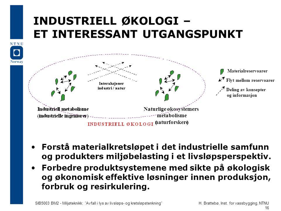 """SIB5003 BM2 - Miljøteknikk: """"Avfall i lys av livsløps- og kretsløpstenkning""""H. Brattebø, Inst. for vassbygging, NTNU 16 INDUSTRIELL ØKOLOGI – ET INTER"""