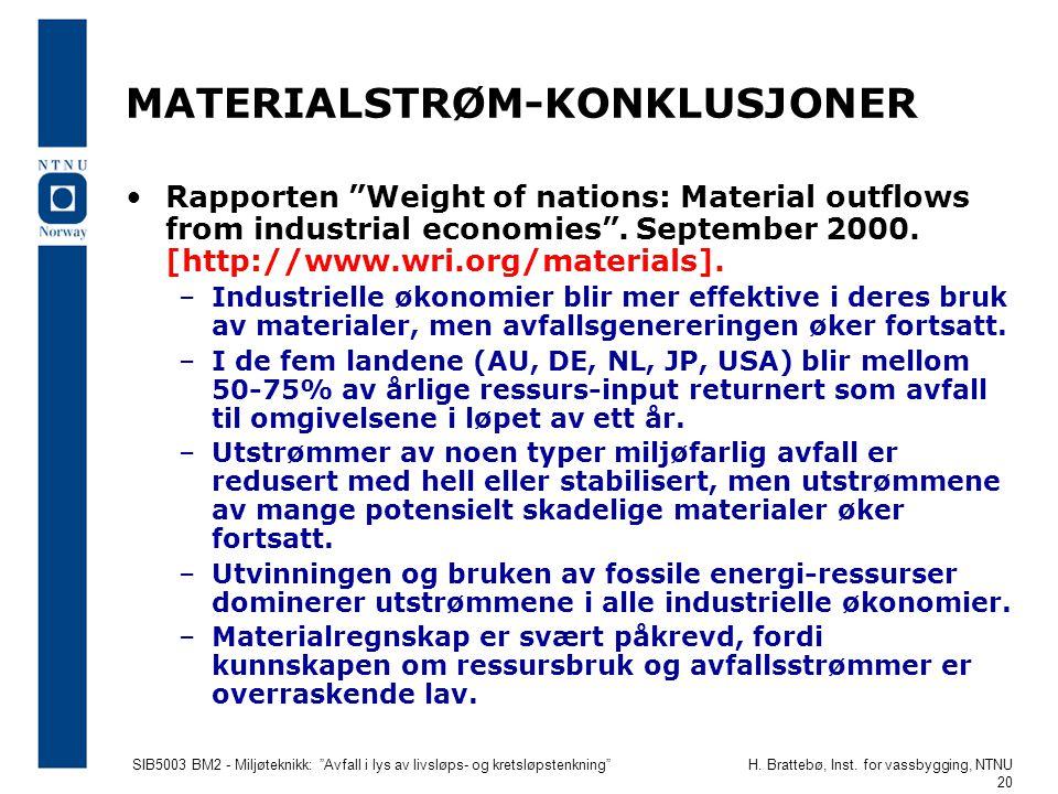 """SIB5003 BM2 - Miljøteknikk: """"Avfall i lys av livsløps- og kretsløpstenkning""""H. Brattebø, Inst. for vassbygging, NTNU 20 MATERIALSTRØM-KONKLUSJONER •Ra"""