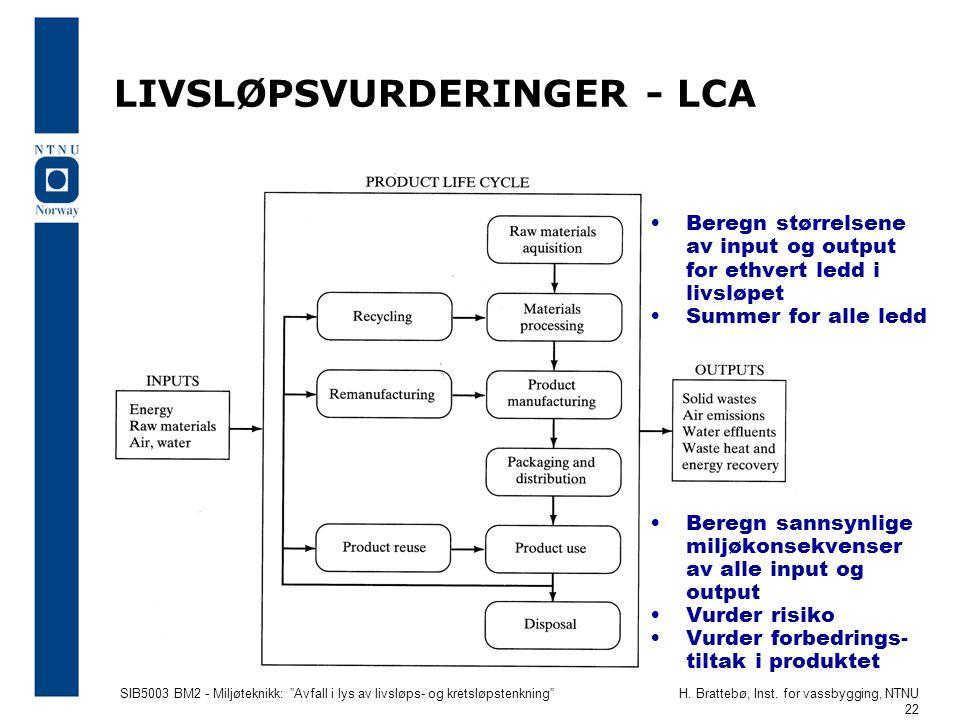"""SIB5003 BM2 - Miljøteknikk: """"Avfall i lys av livsløps- og kretsløpstenkning""""H. Brattebø, Inst. for vassbygging, NTNU 22 LIVSLØPSVURDERINGER - LCA •Ber"""
