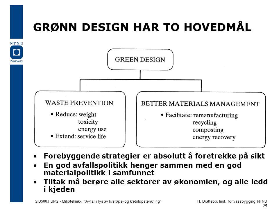 """SIB5003 BM2 - Miljøteknikk: """"Avfall i lys av livsløps- og kretsløpstenkning""""H. Brattebø, Inst. for vassbygging, NTNU 25 GRØNN DESIGN HAR TO HOVEDMÅL •"""