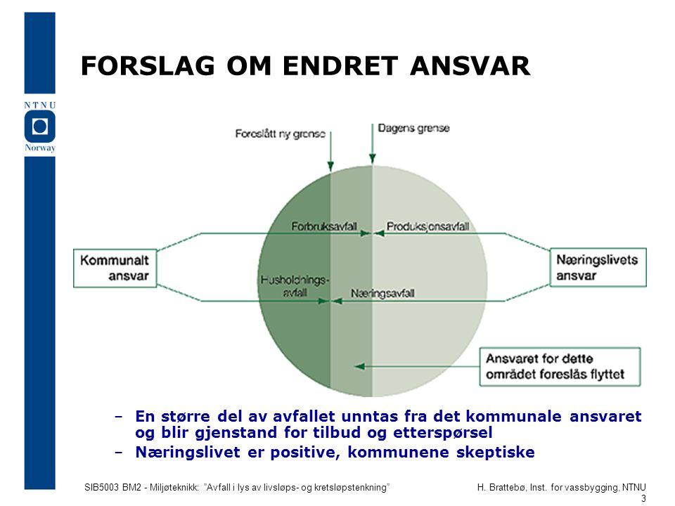 """SIB5003 BM2 - Miljøteknikk: """"Avfall i lys av livsløps- og kretsløpstenkning""""H. Brattebø, Inst. for vassbygging, NTNU 3 FORSLAG OM ENDRET ANSVAR –En st"""