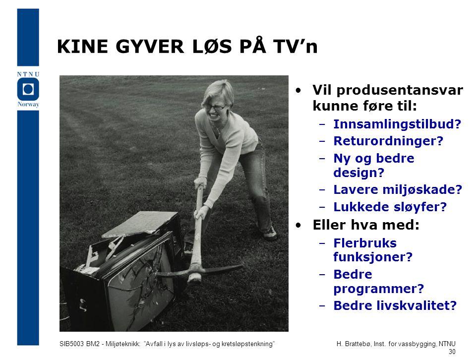 """SIB5003 BM2 - Miljøteknikk: """"Avfall i lys av livsløps- og kretsløpstenkning""""H. Brattebø, Inst. for vassbygging, NTNU 30 KINE GYVER LØS PÅ TV'n •Vil pr"""