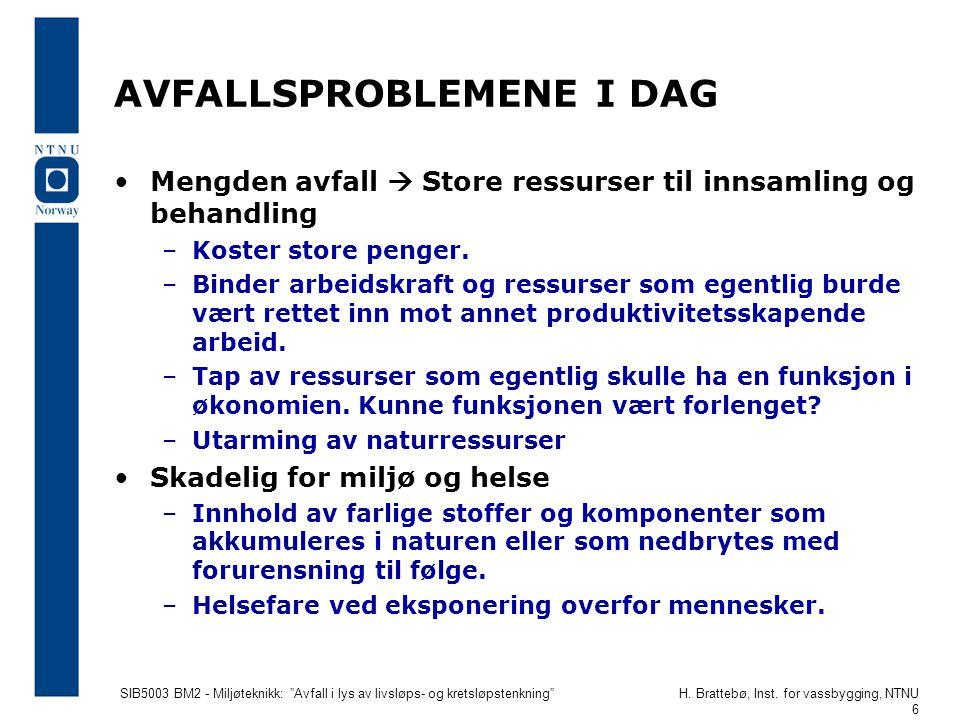 """SIB5003 BM2 - Miljøteknikk: """"Avfall i lys av livsløps- og kretsløpstenkning""""H. Brattebø, Inst. for vassbygging, NTNU 6 AVFALLSPROBLEMENE I DAG •Mengde"""