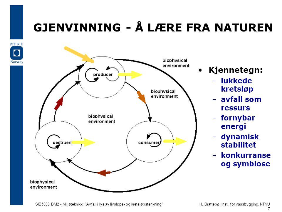 """SIB5003 BM2 - Miljøteknikk: """"Avfall i lys av livsløps- og kretsløpstenkning""""H. Brattebø, Inst. for vassbygging, NTNU 7 GJENVINNING - Å LÆRE FRA NATURE"""