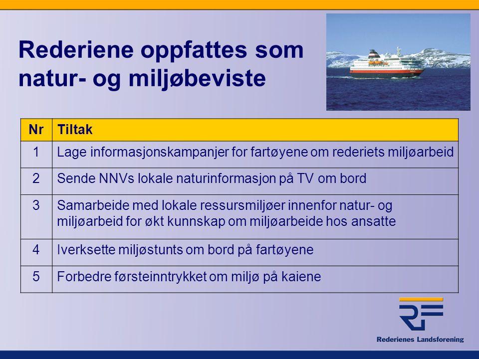 Rederiene oppfattes som natur- og miljøbeviste NrTiltak 1Lage informasjonskampanjer for fartøyene om rederiets miljøarbeid 2Sende NNVs lokale naturinf