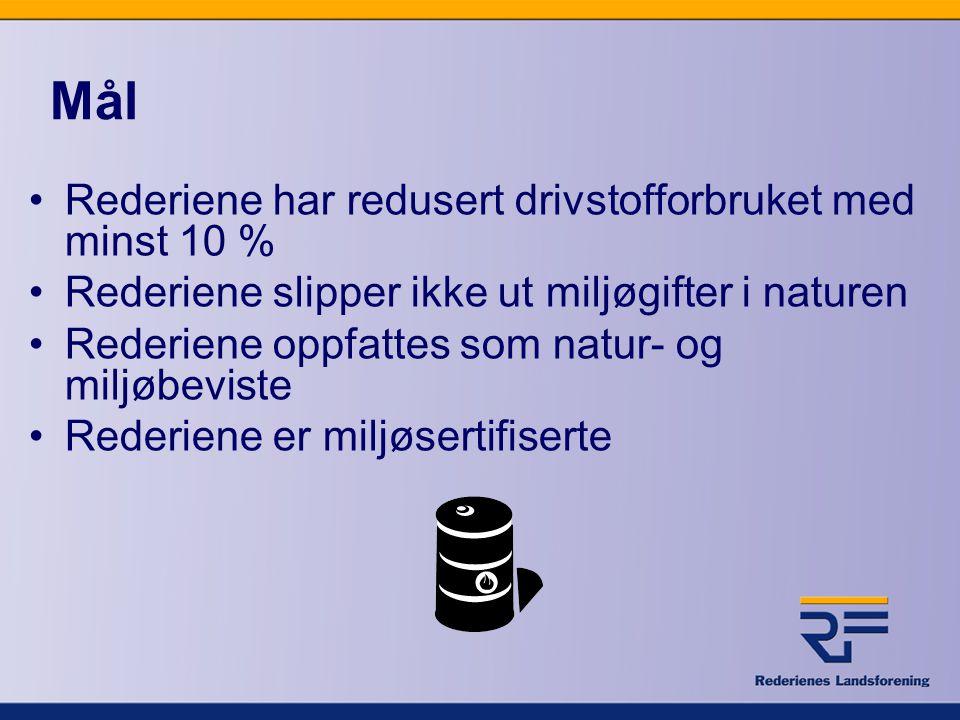 Mål •Rederiene har redusert drivstofforbruket med minst 10 % •Rederiene slipper ikke ut miljøgifter i naturen •Rederiene oppfattes som natur- og miljø