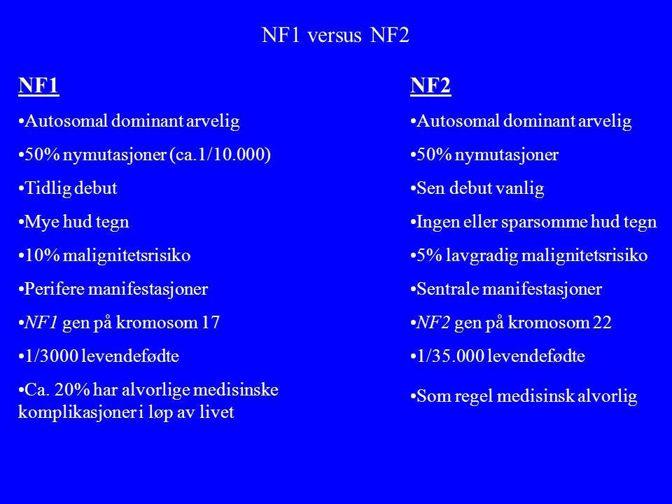 NF1 versus NF2 NF1 •Autosomal dominant arvelig •50% nymutasjoner (ca.1/10.000) •Tidlig debut •Mye hud tegn •10% malignitetsrisiko •Perifere manifestasjoner •NF1 gen på kromosom 17 •1/3000 levendefødte •Ca.