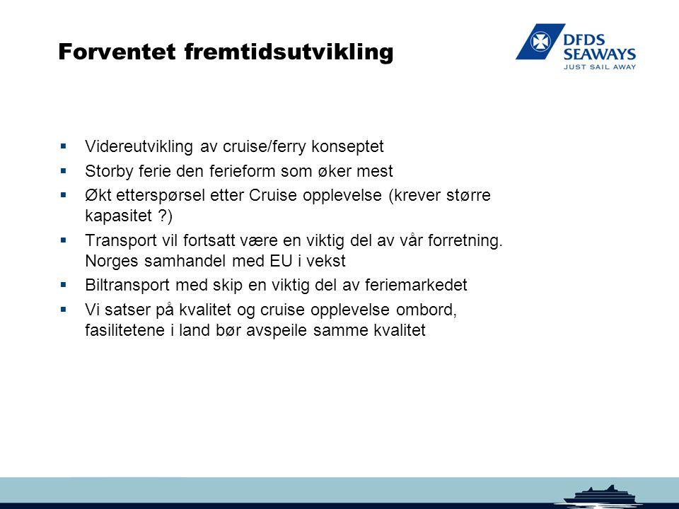 Forventet fremtidsutvikling  Videreutvikling av cruise/ferry konseptet  Storby ferie den ferieform som øker mest  Økt etterspørsel etter Cruise opp