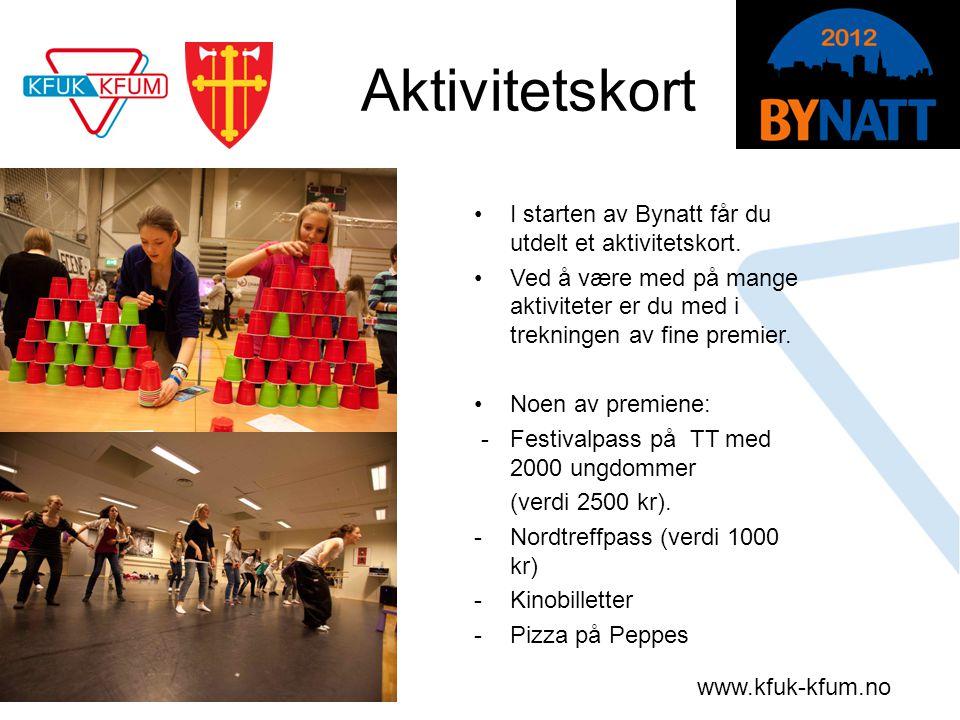 www.kfuk-kfum.no Aktivitetskort •I starten av Bynatt får du utdelt et aktivitetskort. •Ved å være med på mange aktiviteter er du med i trekningen av f