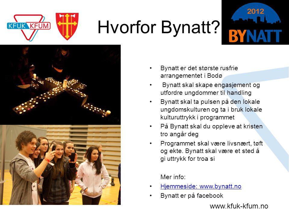 www.kfuk-kfum.no Hvorfor Bynatt? •Bynatt er det største rusfrie arrangementet i Bodø • Bynatt skal skape engasjement og utfordre ungdommer til handlin