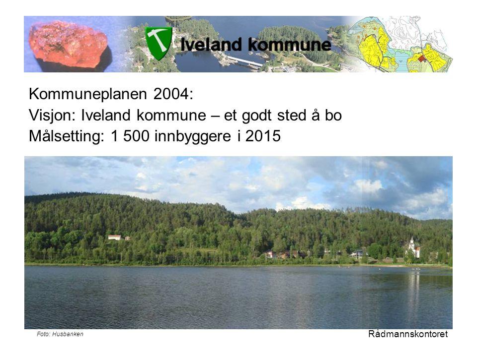 Kommuneplanen 2004: Visjon: Iveland kommune – et godt sted å bo Målsetting: 1 500 innbyggere i 2015 Rådmannskontoret Foto: Husbanken