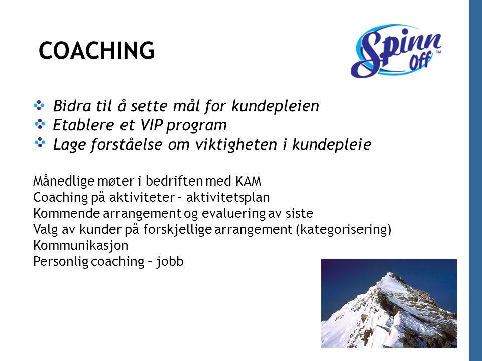 COACHING/SPARRING Bidra til å sette mål for kundepleien Etablere et VIP program Lage forståelse om viktigheten i kundepleie Månedlige møter i bedrifte