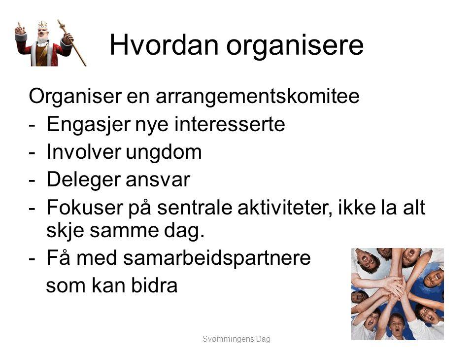 Hvordan organisere Organiser en arrangementskomitee -Engasjer nye interesserte -Involver ungdom -Deleger ansvar -Fokuser på sentrale aktiviteter, ikke