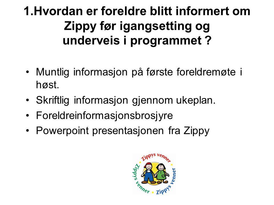 1.Hvordan er foreldre blitt informert om Zippy før igangsetting og underveis i programmet .