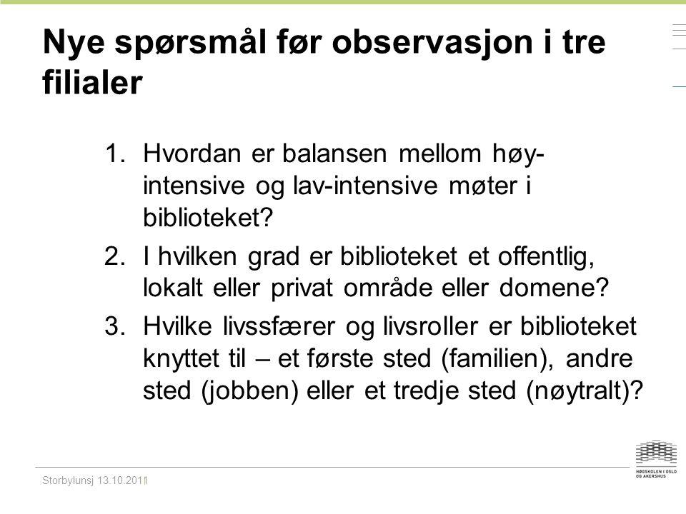Nye spørsmål før observasjon i tre filialer 1.Hvordan er balansen mellom høy- intensive og lav-intensive møter i biblioteket? 2.I hvilken grad er bibl