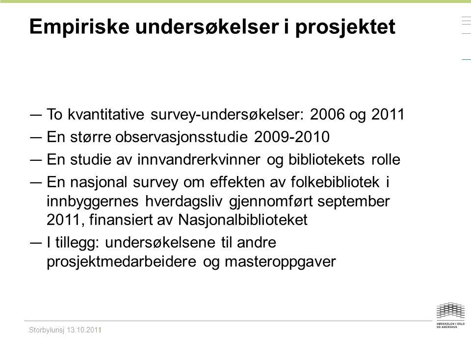 Empiriske undersøkelser i prosjektet — To kvantitative survey-undersøkelser: 2006 og 2011 — En større observasjonsstudie 2009-2010 — En studie av innv