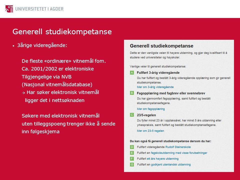 Studiespesifikke spørsmål • http://www.uia.no/portaler/student/hjelp_og_veiledning/studieveiledning http://www.uia.no/portaler/student/hjelp_og_veiledning/studieveiledning • Oversikt over studier i Samordna opptak finnes her: • https://sok.samordnaopptak.no/studier https://sok.samordnaopptak.no/studier • Oppdatert utgave for 2014 kommer i løpet av januar