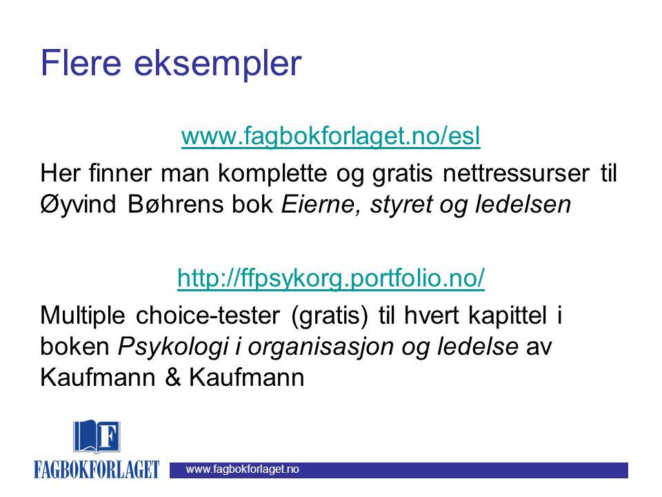 www.fagbokforlaget.no Eksempler på digitale læremidler på det akademiske utgivelsesområdet •Bøhren & Gjærum: Prosjektanalyse: Investering og finansier