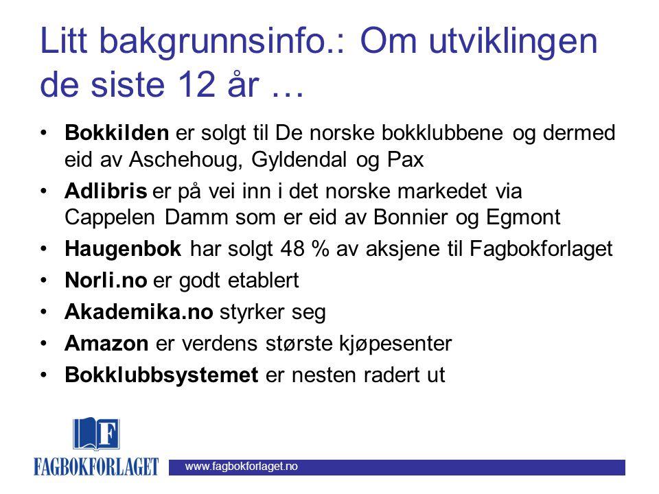 www.fagbokforlaget.no Litt bakgrunnsinfo.: Om bransjen Forlag Distribusjons- sentral Bokhandel Bokklubb Bibliotek Bokbransje