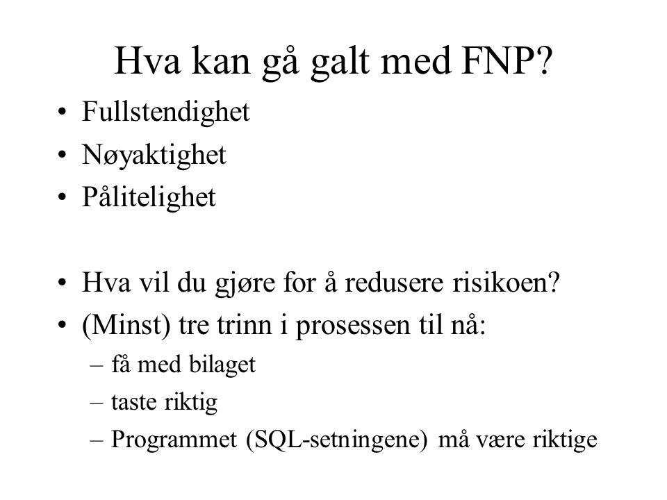 Hva kan gå galt med FNP.