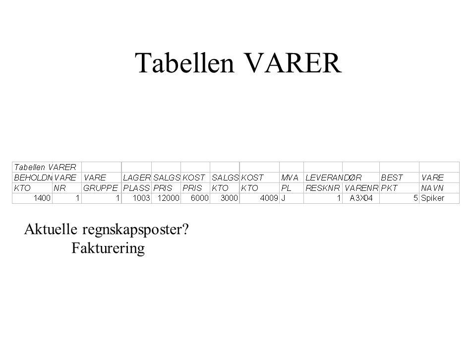 Tabellen VARER Aktuelle regnskapsposter Fakturering