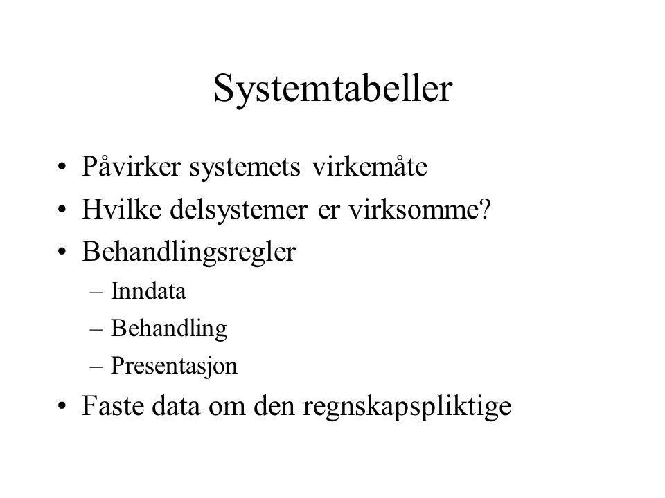 Systemtabeller •Påvirker systemets virkemåte •Hvilke delsystemer er virksomme.