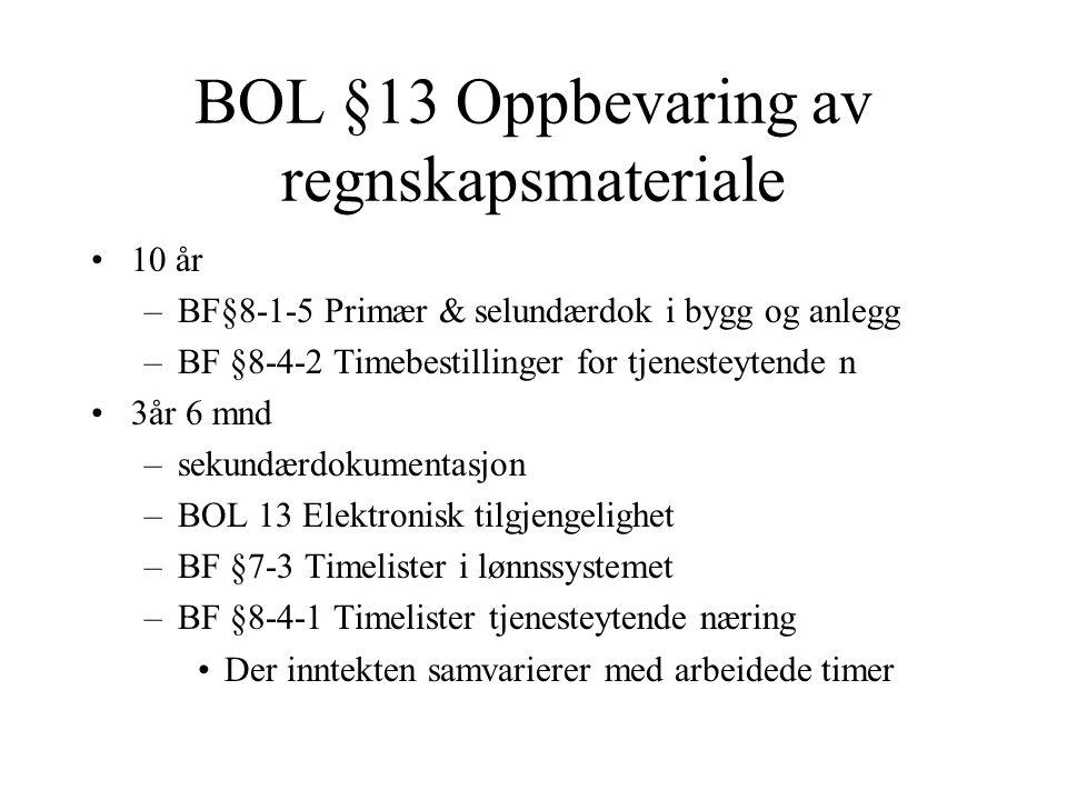 BOL §13 Oppbevaring av regnskapsmateriale •10 år –BF§8-1-5 Primær & selundærdok i bygg og anlegg –BF §8-4-2 Timebestillinger for tjenesteytende n •3år 6 mnd –sekundærdokumentasjon –BOL 13 Elektronisk tilgjengelighet –BF §7-3 Timelister i lønnssystemet –BF §8-4-1 Timelister tjenesteytende næring •Der inntekten samvarierer med arbeidede timer