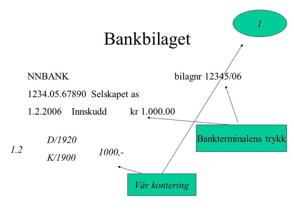 Bankbilaget NNBANKbilagnr 12345/06 1234.05.67890 Selskapet as 1.2.2006 Innskudd kr 1.000.00 D/1920 K/1900 1000,- 1.2 1 Bankterminalens trykk Vår kontering