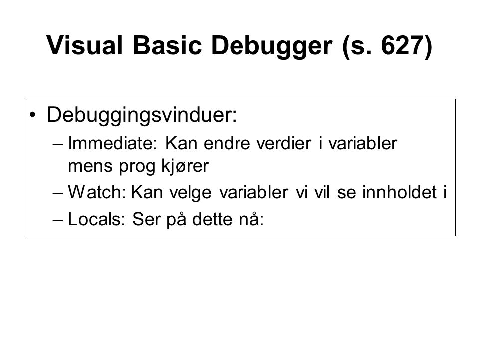 Visual Basic Debugger (s.