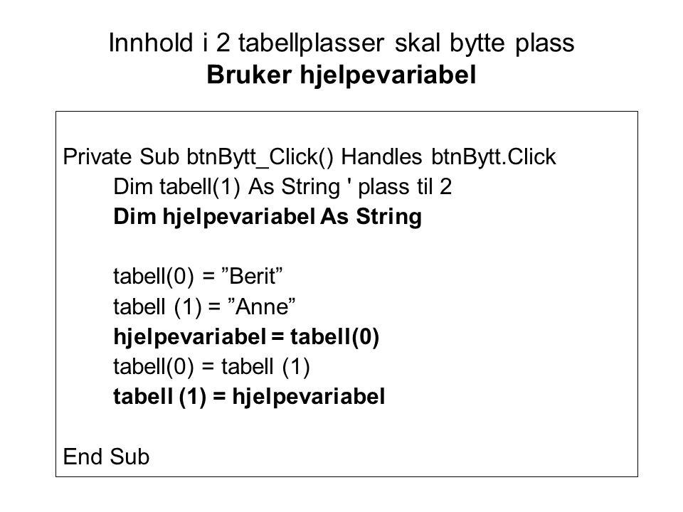 Innhold i 2 tabellplasser skal bytte plass Bruker hjelpevariabel Private Sub btnBytt_Click() Handles btnBytt.Click Dim tabell(1) As String plass til 2 Dim hjelpevariabel As String tabell(0) = Berit tabell (1) = Anne hjelpevariabel = tabell(0) tabell(0) = tabell (1) tabell (1) = hjelpevariabel End Sub