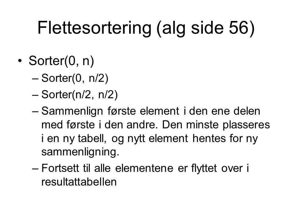 Flettesortering (alg side 56) •Sorter(0, n) –Sorter(0, n/2) –Sorter(n/2, n/2) –Sammenlign første element i den ene delen med første i den andre. Den m