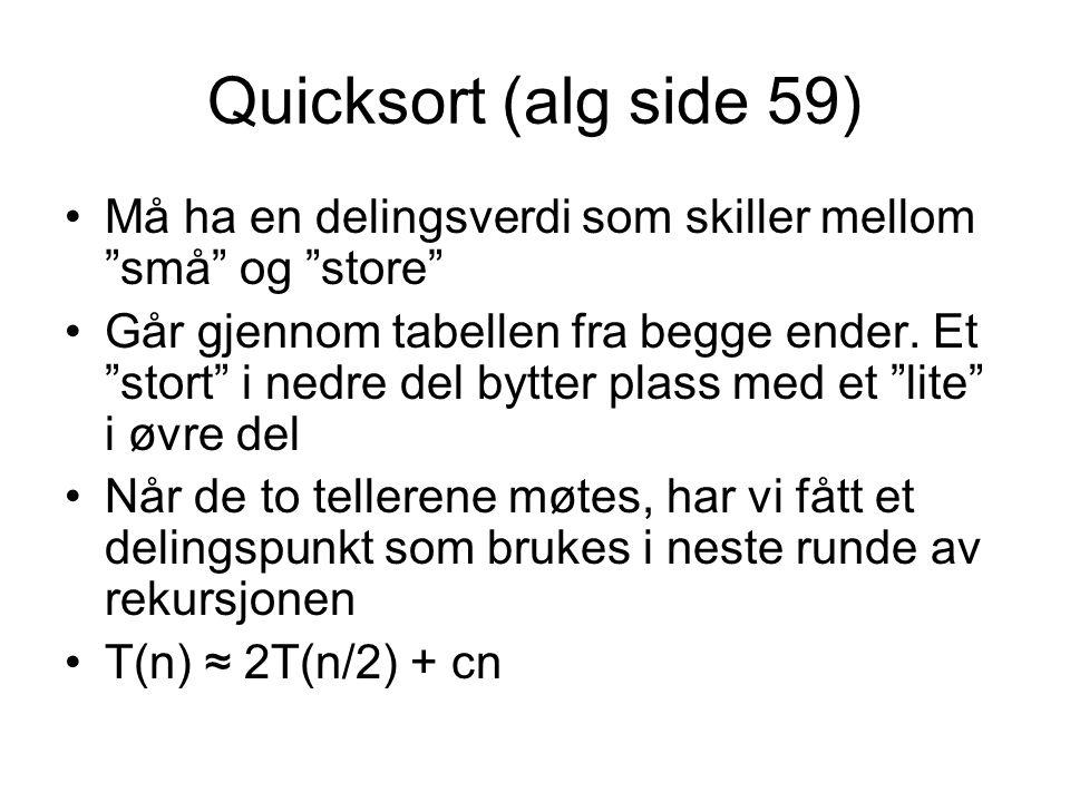 """Quicksort (alg side 59) •Må ha en delingsverdi som skiller mellom """"små"""" og """"store"""" •Går gjennom tabellen fra begge ender. Et """"stort"""" i nedre del bytte"""