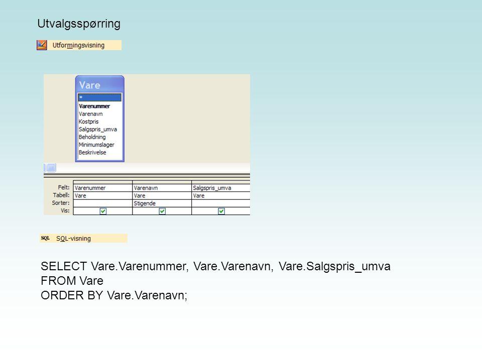 Tilsvarende SQL-setning: SELECT Vare.Varenummer, Vare.Varenavn, Vare.Salgspris_umva FROM Vare WHERE (((Vare.Varenummer)=[Oppgi varenummer])) ORDER BY Vare.Varenavn; Utvalgsspørring
