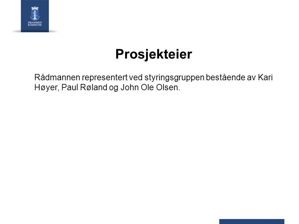 Prosjekteier Rådmannen representert ved styringsgruppen bestående av Kari Høyer, Paul Røland og John Ole Olsen.