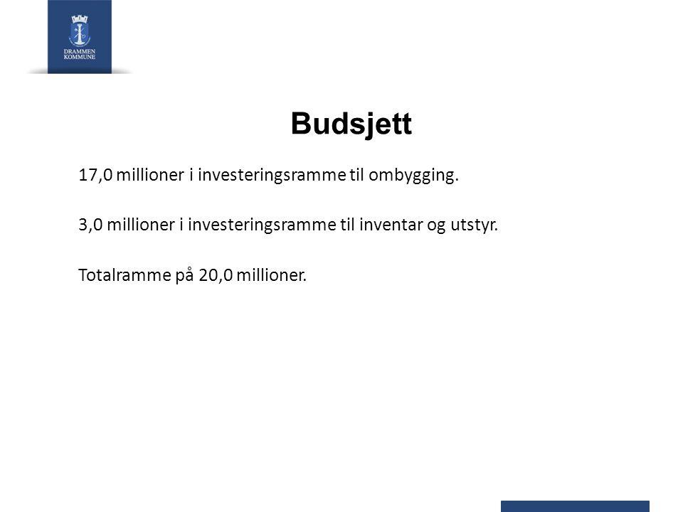 Budsjett 17,0 millioner i investeringsramme til ombygging. 3,0 millioner i investeringsramme til inventar og utstyr. Totalramme på 20,0 millioner.