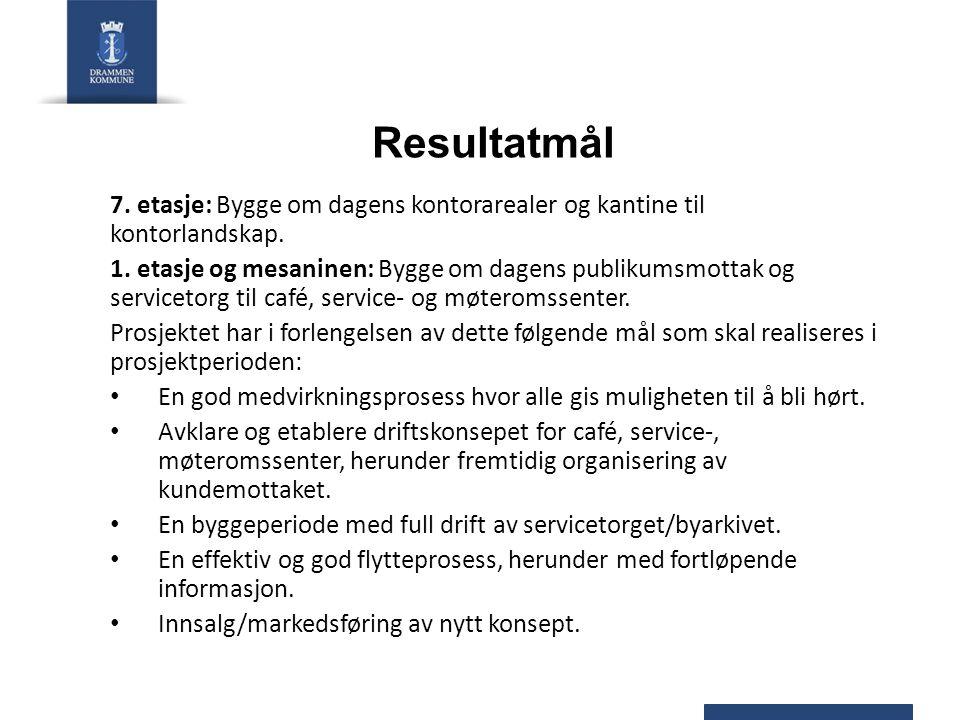 Resultatmål 7. etasje: Bygge om dagens kontorarealer og kantine til kontorlandskap. 1. etasje og mesaninen: Bygge om dagens publikumsmottak og service