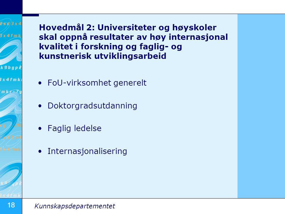 18 Kunnskapsdepartementet Hovedmål 2: Universiteter og høyskoler skal oppnå resultater av høy internasjonal kvalitet i forskning og faglig- og kunstnerisk utviklingsarbeid •FoU-virksomhet generelt •Doktorgradsutdanning •Faglig ledelse •Internasjonalisering