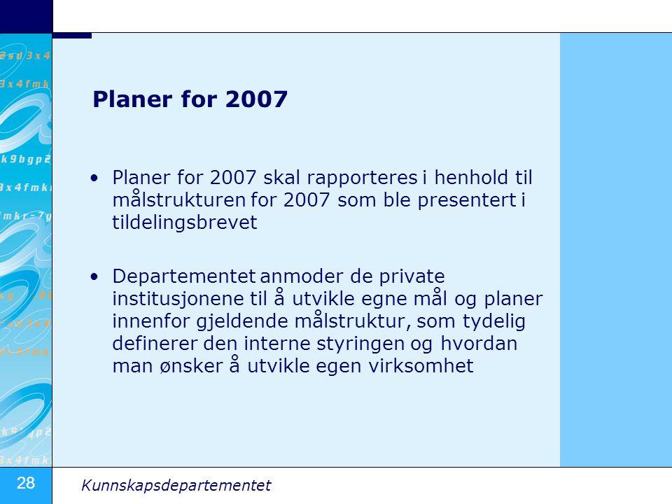 28 Kunnskapsdepartementet Planer for 2007 •Planer for 2007 skal rapporteres i henhold til målstrukturen for 2007 som ble presentert i tildelingsbrevet •Departementet anmoder de private institusjonene til å utvikle egne mål og planer innenfor gjeldende målstruktur, som tydelig definerer den interne styringen og hvordan man ønsker å utvikle egen virksomhet