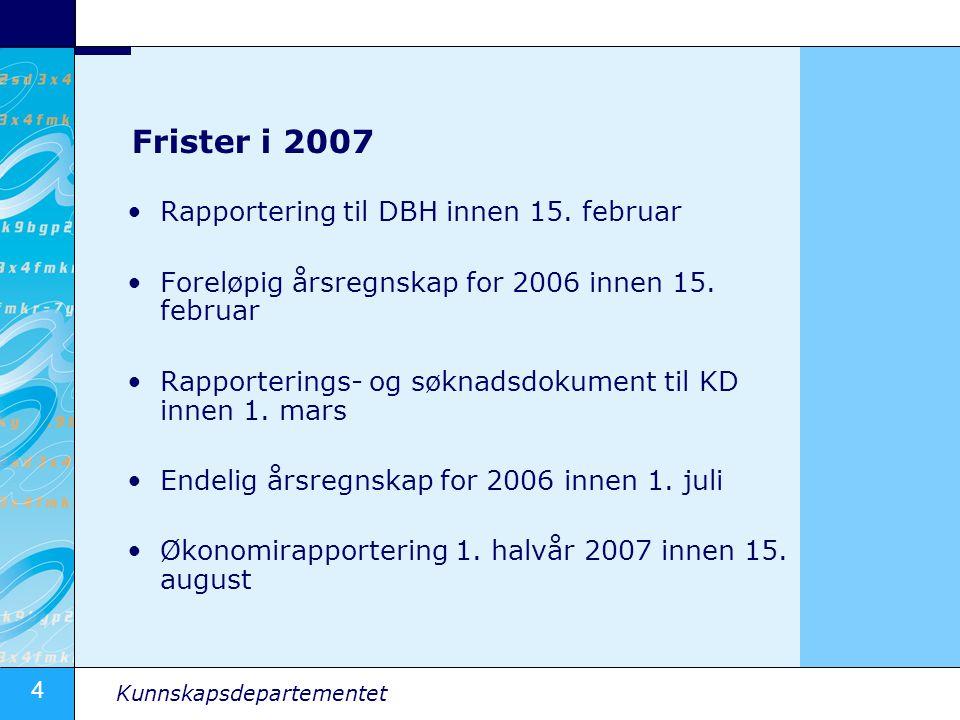 4 Kunnskapsdepartementet Frister i 2007 •Rapportering til DBH innen 15.