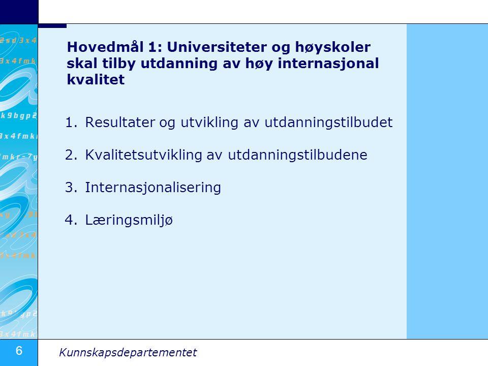 6 Kunnskapsdepartementet Hovedmål 1: Universiteter og høyskoler skal tilby utdanning av høy internasjonal kvalitet 1.Resultater og utvikling av utdanningstilbudet 2.Kvalitetsutvikling av utdanningstilbudene 3.Internasjonalisering 4.Læringsmiljø