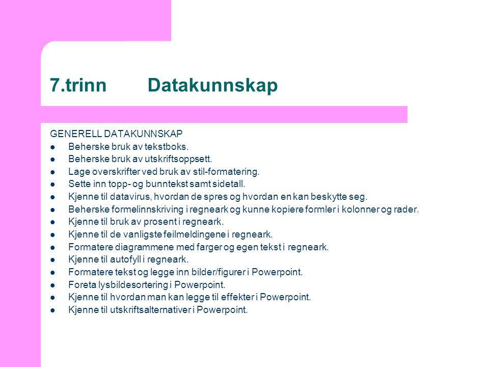 7.trinnDatakunnskap GENERELL DATAKUNNSKAP  Beherske bruk av tekstboks.  Beherske bruk av utskriftsoppsett.  Lage overskrifter ved bruk av stil-form