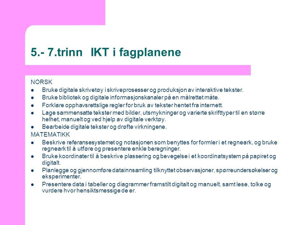 5.- 7.trinnIKT i fagplanene NORSK  Bruke digitale skrivetøy i skriveprosesser og produksjon av interaktive tekster.  Bruke bibliotek og digitale inf