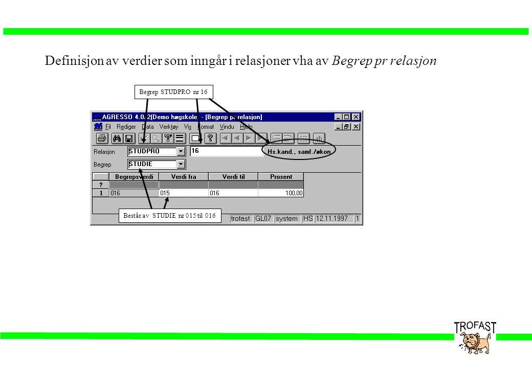 Definisjon av verdier som inngår i relasjoner vha av Begrep pr relasjon Begrep STUDPRO nr 16 Består av STUDIE nr 015 til 016