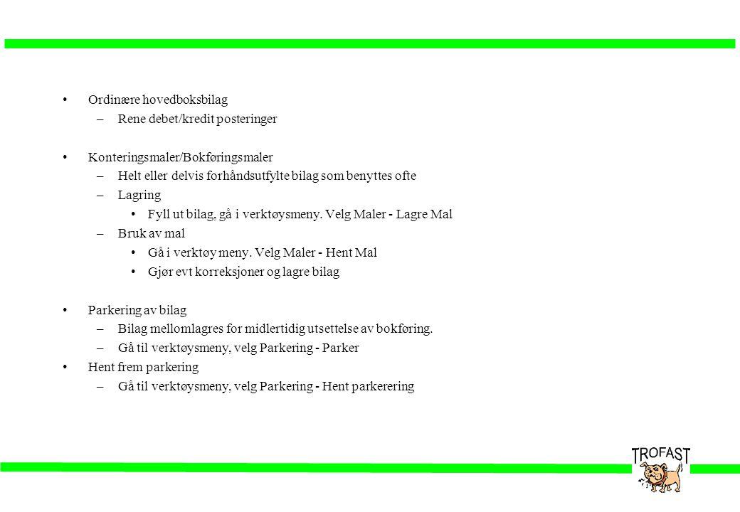 •Ordinære hovedboksbilag –Rene debet/kredit posteringer •Konteringsmaler/Bokføringsmaler –Helt eller delvis forhåndsutfylte bilag som benyttes ofte –L