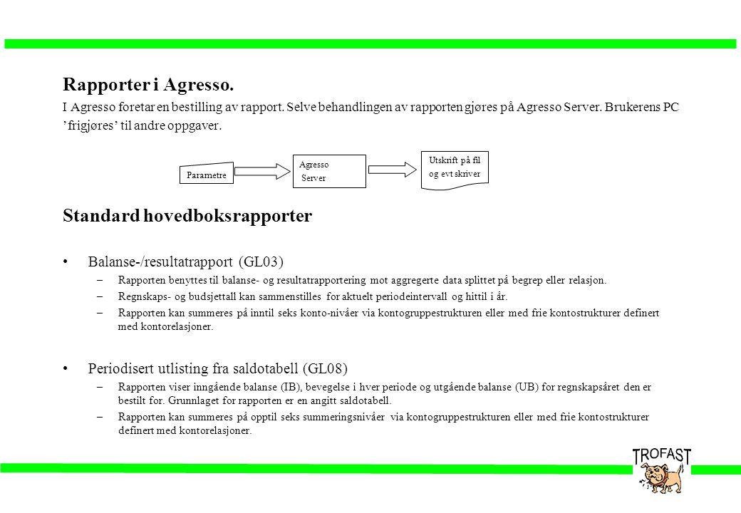 Rapporter i Agresso. I Agresso foretar en bestilling av rapport. Selve behandlingen av rapporten gjøres på Agresso Server. Brukerens PC 'frigjøres' ti