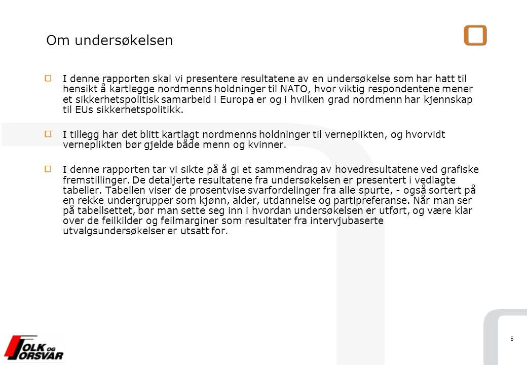 16 Base: Alle (n= 1000) Spørsmål: Mener du at vi bør beholde verneplikten i Norge?